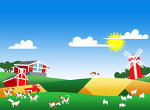 Illustratie van landbouwbedrijflandschap Stock Afbeeldingen