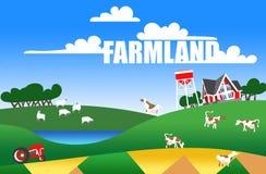 Illustratie van landbouwgrond Stock Afbeeldingen