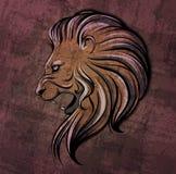 Illustratie van leeuw de hoofdgrunge Stock Afbeeldingen