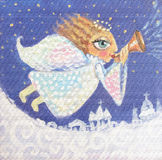 Illustratie van leuk weinig Kerstmisengel met trompet Hand geschilderd Kerstmisbeeld Stock Afbeeldingen
