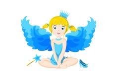 Illustratie van leuk weinig zittingsfee met blauwe vleugels Royalty-vrije Stock Afbeelding