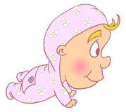 Illustratie van Leuke babyjongen Crowls Stock Foto