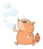 Illustratie van Leuke Cat Blowing Bubbles Het karakter van het beeldverhaal stock illustratie