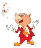Illustratie van Leuke Cat Cardsharp, Het karakter van het beeldverhaal stock illustratie