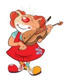 Illustratie van Leuke Cat Clown Violinist Cartoon Character royalty-vrije illustratie