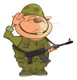 Illustratie van Leuke Cat Special Forces Cartoon Character Stock Foto
