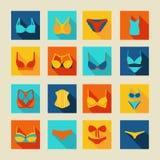 Illustratie van lingerie de vastgestelde pictogrammen Stock Foto's