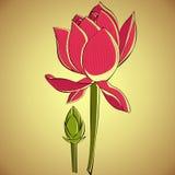 Illustratie van lotusbloem stock fotografie
