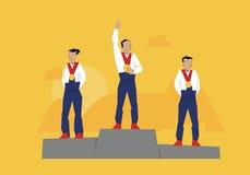Illustratie van Medaillewinnaars die zich op Podium bij Gebeurtenis bevinden Royalty-vrije Stock Afbeelding