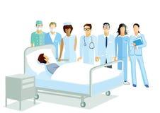 Illustratie van medisch personeel met patiënt Royalty-vrije Stock Afbeelding
