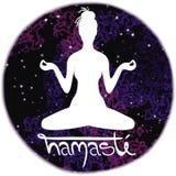 Illustratie van meditatie in lotusbloempositie van yoga Stock Fotografie