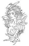 Illustratie van meerminprinses en goudvissen Royalty-vrije Stock Fotografie
