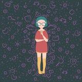 illustratie van meisje het babbelen op smartphone met rond vullers royalty-vrije illustratie