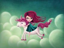 Illustratie van meisje met eenhoorn Stock Afbeeldingen