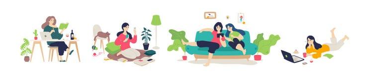Illustratie van meisjes die een rust hebben thuis Vector Vlakke stijl De jongeren doet huishoudenkarweien Het leren en het letten stock illustratie