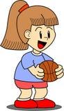 Illustratie van meisjes speelbasketbal Stock Afbeeldingen