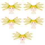 Illustratie van meisjesemoties Stock Afbeeldingen