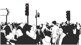 Illustratie van menigte van mensen die op de straat met straattekens en verkeerslichten lopen stock illustratie