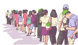 Illustratie van menigte van mensen die zich in lijn in perspectief bevinden stock illustratie
