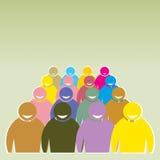 Illustratie van menigte van mensen - de vector van pictogramsilhouetten Stock Foto