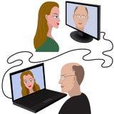 Illustratie van mens en vrouw die een videopraatje de hebben door Internet Stock Afbeeldingen