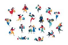 Illustratie van mensen met aankopen Vector Mannen en vrouwen gekochte dingen Kortingen en verkoop in kleinhandelsnetwerken Vlak b royalty-vrije illustratie