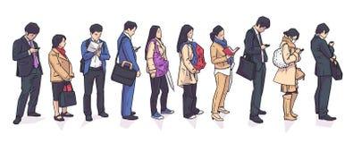 Illustratie van mensen status die in registratie het winkelen openbaar vervoerlijn wachten vector illustratie