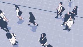 Illustratie van mensenforenzen die in het stedelijke platform van de openbaar vervoerpost lopen stock illustratie