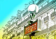 Illustratie van Metro teken in Parijs, Frankrijk Stock Afbeeldingen