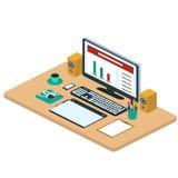 Illustratie van moderne creatieve bureauwerkruimte, werkplaats met Stock Foto