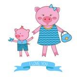Illustratie van moedervarken en biggetje Stock Foto's