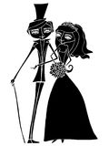 Illustratie van mooie bruid en bruidegom Stock Afbeelding