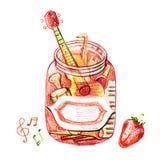 Illustratie van Muziekjam Een kruik van bessen en muzikale instrumenten Grappige jam royalty-vrije illustratie