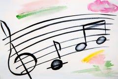 Illustratie van muzikale staaf en nota's Stock Foto's
