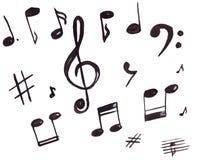Illustratie van muzikale symbolen, g-sleutel en nota's Stock Foto
