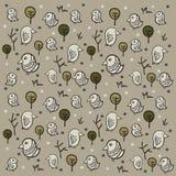 Illustratie van naadloos patroon met grappige vogels en groene boom Royalty-vrije Stock Afbeeldingen