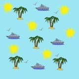 Illustratie van naadloze patroonelementen van vrije tijd en reis vector illustratie