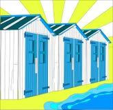 Illustratie van Nederlandse kleine huizen op strand Stock Foto's