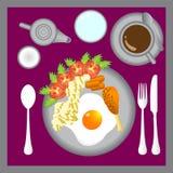 Illustratie van ochtendontbijt Stock Foto's