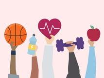 Illustratie van oefening en gezond levensstijlconcept stock illustratie