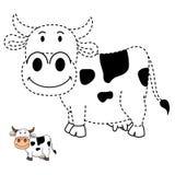 Illustratie van onderwijsspel voor jonge geitjes en het kleuren boek-koe Stock Fotografie