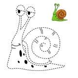 Illustratie van onderwijsspel voor jonge geitjes en het kleuren boek-snai Stock Foto's