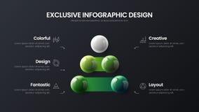 illustratie van 5 optie bedrijfs de infographic presentatie vector 3D kleurrijke ballen Collectief marketing het rapportontwerp v stock illustratie
