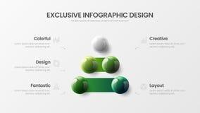 illustratie van 5 optie bedrijfs de infographic presentatie vector 3D kleurrijke ballen Collectief marketing het rapportontwerp v vector illustratie