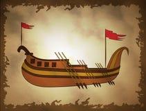 Illustratie van oud schip op een retro achtergrond stock illustratie