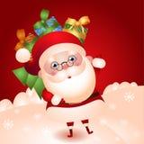 Illustratie van oude Kerstman met een zak van giften stock illustratie