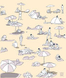 Illustratie van overvol strand met en mensen die ontspannen zonnebaden royalty-vrije illustratie