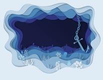 Illustratie van overzeese bodem en ankerboot Stock Foto's