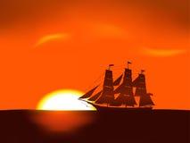 Illustratie van overzeese zonsopgang Royalty-vrije Stock Afbeelding