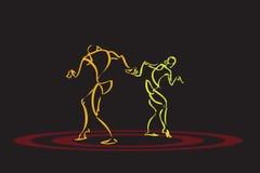 Illustratie van paar het dansen Stock Foto's